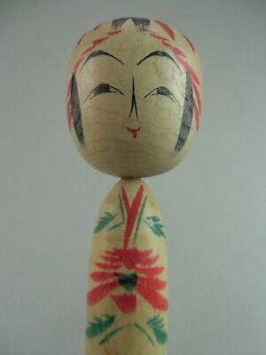 Japanese Wooden Kimono Girl Kokeshi Doll Hand-painted Signed Vtg Carving TK24