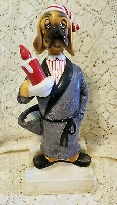 Vintage Dog in Bathrobe w/ Candle Figurine w/ Partial Dog House Behind Him 10""
