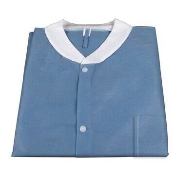 Medical Dental Disposable Lab Coat Gown Blue, With Pockets, 10pcs/bag