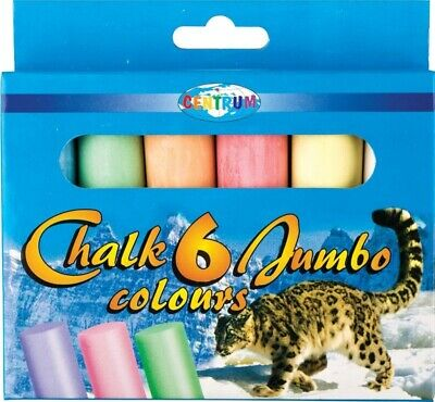6Pc JUMBO COLOURED CHALK Pavement Outdoor Floor Game Art Drawing Chunky Large