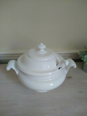 Vintage Portugal White Soup Tureen with Lid Cover Ladle
