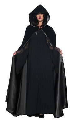Cape Deluxe Black/Black 63 Inch With Hood Costume