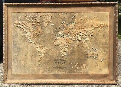 Antique World Relief Map Central School Supply House 1892 Large Size Wonderful