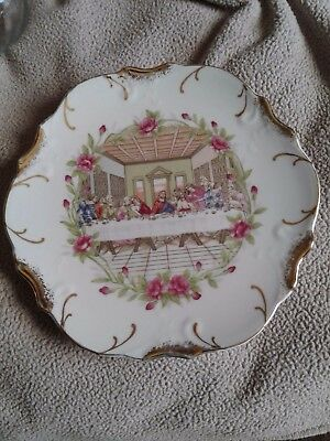 """Mid-State  Last Supper 18K gold trim collectors Hanging Plate VGC 8-1/4"""" 24505"""