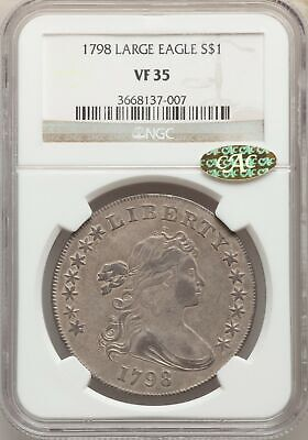 1798 Draped Bust Dollar Large Eagle NGC VF35 CAC Gold Sticker