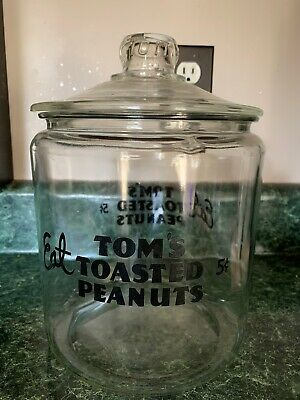 Vintage Tom's Roasted Peanuts Counter Glass Jar & Embossed Lid No Top Red Paint