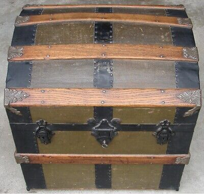 Antique 1877 Vintage Victorian Half Size Steamer Trunk Camel Dome Humpback Tray