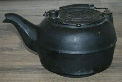 Antique 1800s Huge 5 QT Cast Iron Tea Kettle With Gate Mark