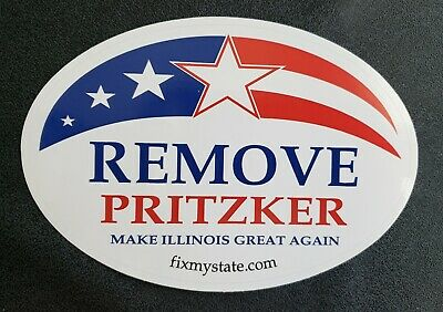 FIX MY STATE - REMOVE PRITZKER Oval decal / bumper sticker - Novelty Illiniois