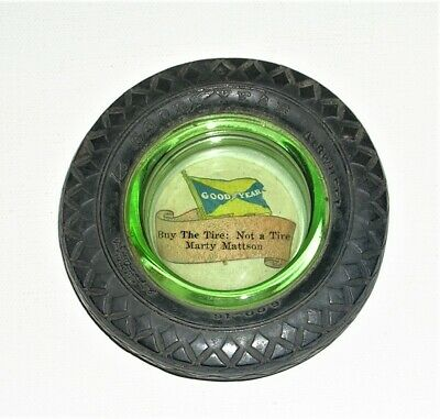 """Vintage Goodyear Small 3.5"""" Tire Ashtray, Green Vaseline Glass Insert """"The Tire"""""""