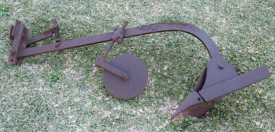 Antique Cast Iron, Horse Drawn Plough, With Furrow And Cutting Blade.