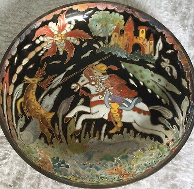 Vintage Wall Plate Hand Painted Glass Of Spanish Hunting Scene Gold Edged, Old.