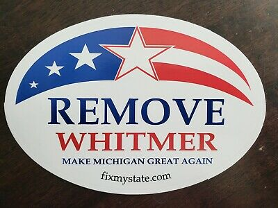 FIX MY STATE - REMOVE WHITMER Oval decal / bumper sticker - Novelty Michigan*