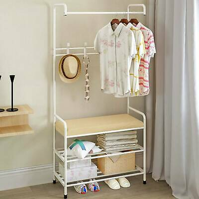 Hat Coat Stand Hall Tree Hallway Shoe Rack Soft Bench with Shelves Hooks