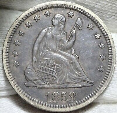 1858 Seated Liberty Quarter Dollar Almost Uncirculated AU Siver 25c Type Coin