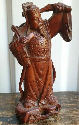 Antique Carved Wood Chinese Figurine. Old man carrying. W/damage.