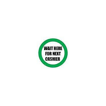 Social Distancing Floor & Wall Sign Wait here for next cashier White/Green