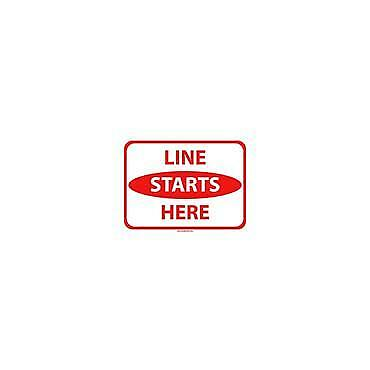 Social Distancing Floor & Wall Sign Line starts here White/Red30cm x 23cm