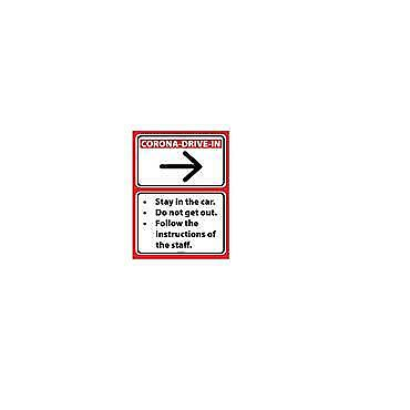 Social Distancing Floor & Wall Sign Corona Drive In White/Red64cm x 46cm