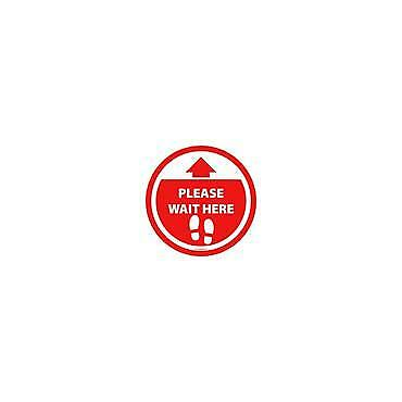 Social Distancing Floor & Wall Sign Please wait here w/ arrow Red