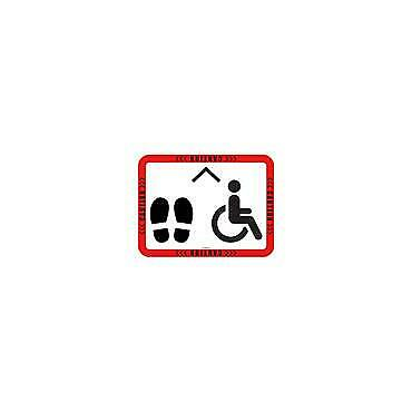 Social Distancing Floor & Wall Sign Caution w/ stand & Disability image