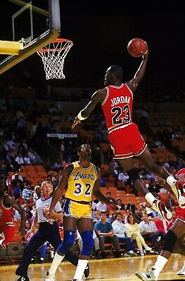 Michael Jordan Chicago Bulls Iconic Dunk Air Jordan 8x10 Photo Magic Johnson