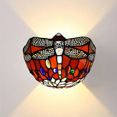 Tiffany Style Stunning Wall Lamp Antique Dragonfly Design Handcrafted Lamp Shade