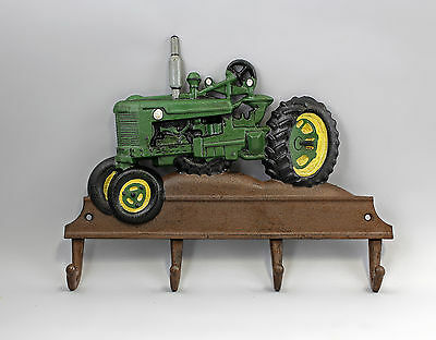 9937816 Cast Iron Rustic Coloured Hook Hook Rail Tractor Green 36x26cm