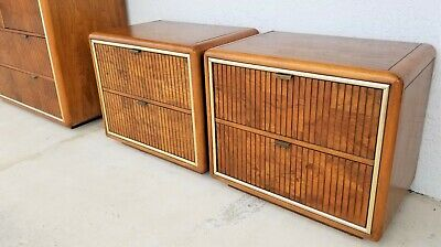 Pair of American Of Martinsville MCM Campaign Style Nightstands Mid Century Mod