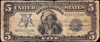 Circulated 1899 $5 INDIAN CHIEF Silver Certificate! FREE SHIPPING! N29802388