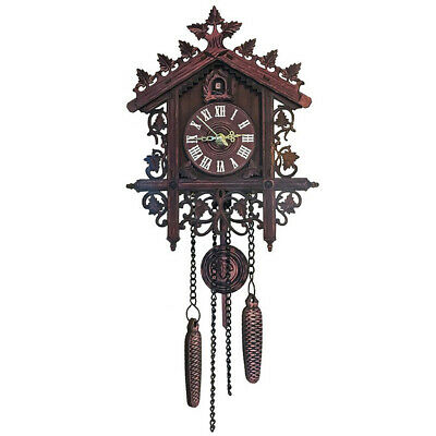 Wood Cuckoo Wall Clock Quartz Clock Vintage Antique Clock with Pendulum #1