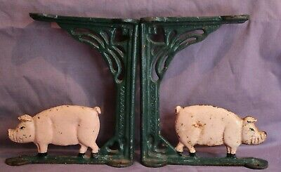 "ANTIQUE VINTAGE 'PIGGY CAST' IRON WALL SHELF BRACKETS PAIR  - 6"" Tall - 19th C"