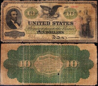 """Nice RARE 1862 $10 """"LINCOLN"""" US Legal Tender Note! FREE SHIPPING! 24643"""