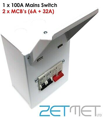 Mini Metal Garage Amendment 3 Consumer Unit 100A Main Switch 6A+32A MCB Fuse Box