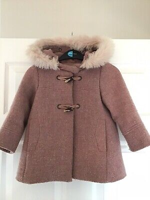 Gorgeous Zara Baby Girls Pink Wool Winter Coat With Detachable Fur Age 3 Years