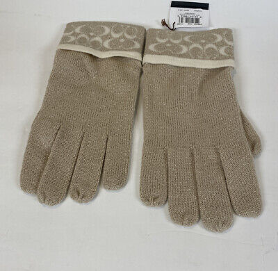 COACH NWT Mini Signature Lurex Gloves Metallic Gold Beige Cream White Knit Chic