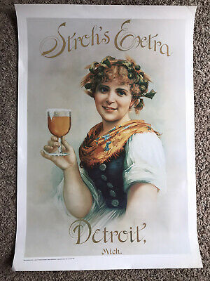 "VTG ""Stroh's Extra"" Beer Poster By Posters Creations Co. - Large Rare 20"" X 29"""