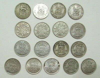 Lot Of 17 Great Britain Six Pence Coins 1922-1941 No Dups .500 Silver 1.697 Asw