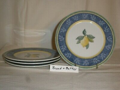 "4 Villeroy and Boch Corfu Switch 3 Bread & Butter Plates 7"" Country Collection"