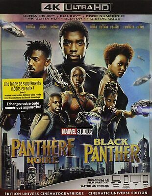 BLACK PANTHER - 4K ULTRA HD + BLU-RAY+ DIGITAL + SLIPCOVER - Brand New!