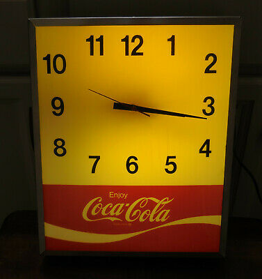 RARE VINTAGE 1970's Lighted COCA COLA Advertising Wall Clock - WORKS!