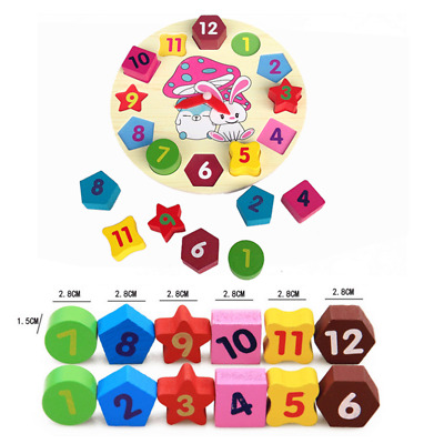 Educational Learning Sorting Clock Wooden Puzzle Play Toy for Toddlers Baby Kids