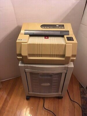 CCS 5000 ACHIEVER CROSSCUT PAPER SHREDDER w/ ROLLING COLLECTION BIN – WORKS!