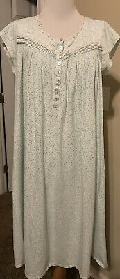EILEEN WEST Cap Sleeve Nightgown SMALL Blue Floral Cotton Knit Lace