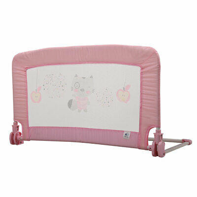 Safety Crib Rail Swing Down Baby Bed Rail For Toddler Kids Baby 35x20 Inch Pink