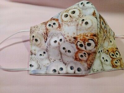 Handmade Face Mask Woodland Owls Fabric 3-layers 100% Cotton
