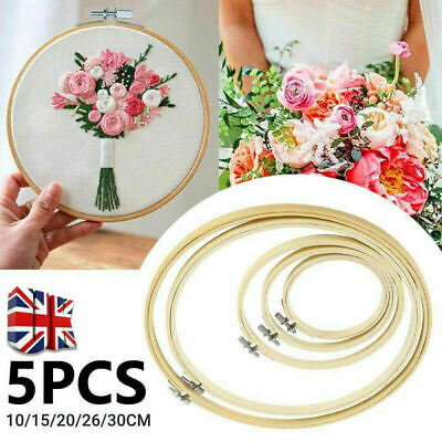 """4-12"""" DIY Bamboo Embroidery Hoops Set Circle Cross Stitch Hoop Tapestry Rings"""