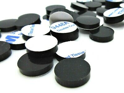 """Lot of 25 pcs - 1/2"""" Dia. X 1/8"""" Tall Rubber Feet/Bumpers. 3M Adhesive Backing"""