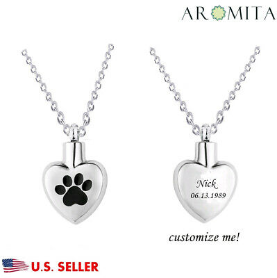 Personalized Custom Pet Paw in My Heart Cremation Keepsake Memorial Urn Necklace
