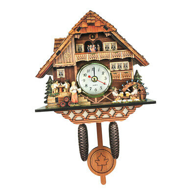 Wooden Cuckoo Wall Clock Alarm Watch Home Art Decor Bird Time Bell Swing Clock